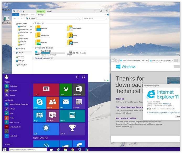 Windows 10 signe le retour officiel du menu démarrer, disparu avec Windows 8/8.1. (crédit : D.R.)